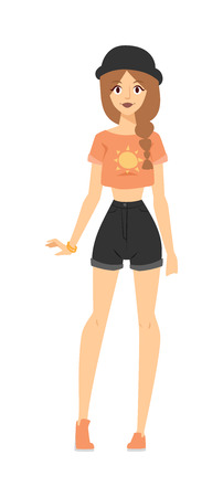 model posing: Summer clothing outfit shorts, t-shirt and summer clothing outfit pretty modern girl. Fashion portrait of model posing outdoor in short shorts, t-shirt and hat stylish summer clothing outfit vector.
