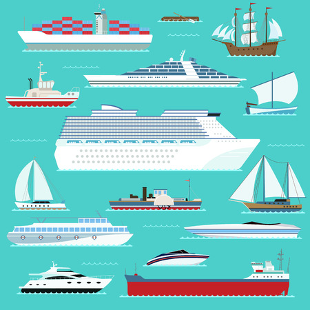 the hovercraft: Ship, boat, vessel, warship, cargo ship, cruise ship, yacht, wherry, hovercraft. Water ship transport sea boat. Super set of water ships carriage maritime transport in modern flat design vector style.
