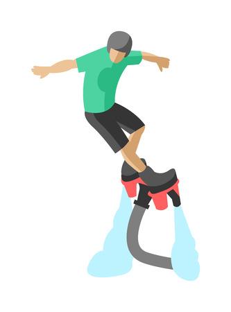 wet flies: Man flyboard in action summer hobby outdoor water sport flyboard. Flyboard fun extreme hobby watersport. New spectacular extreme sport flyboard summer action splash active acrobatic man flat vector.