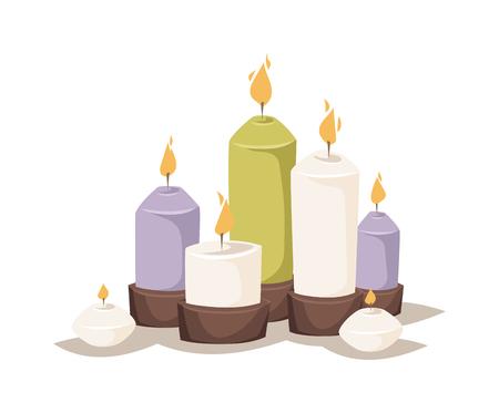 Cartoon candele di cera e candele colorate dei cartoni animati. Notte incandescente decorazioni candele dei cartoni animati, romantico bruciare. Cartoon bruciando candele con portacandele e fuoco cera fiamma decorazione luminosa vettore piatta.