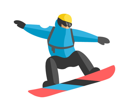 snowboarder jumping: Participating freestyle snowboarder jump competition skiers and snowboarder jump extreme sport. Snowboarder mountain jump. Freestyle snowboarder jumping from top of peak mountain covered clouds vector