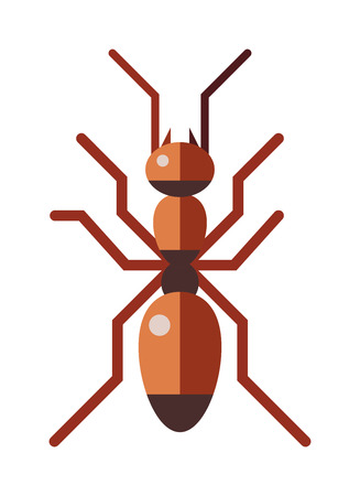 cartoon bug: Ant small insect and cute ant worker. Brown ant animal character, cartoon rufa wildlife ant little worker. Red ant forest rufa small antenna insect, nature cartoon graphic brown worker flat vector.