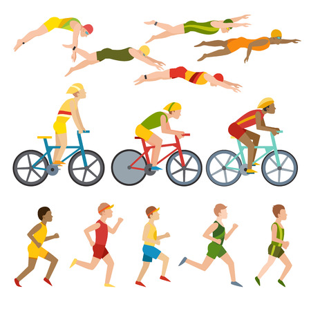 swimming silhouette: Triathlon, swimming, running and cycling triathlon. Swimming, running and triathlon cycling fitness sport. Triathlon athletes design stylized symbolizing competition race athlete man character vector.