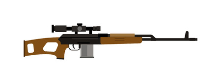 carbine: Steel sniper rifle and war sniper gun. Sniper rifle crime gun machine, special fire gun. Vector heavy assault large arms carbine sniper rifle futuristic weapon with grenade launcher military gun. Illustration