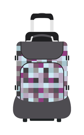 suitcase packing: Travel tourism bag and vacation handle travel bag. Travel bag leather big packing and voyage big bag destination. Travel bag on wheels. Journey suitcase travel bag trip baggage vacation vector.