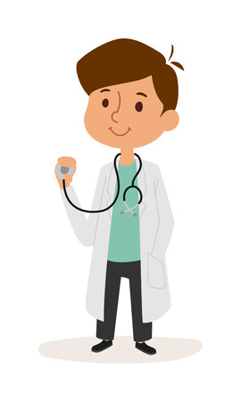 Doctor boy cartoon character and doctor boy playing. Doctor boy with stethoscope medical small person in white coat. Full length portrait of cute smiling boy playing doctor cartoon character vector.