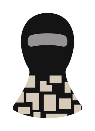 guerrilla: Fase balaclava and balaclava black mask. Terrorist man balaclava, burglary security balaclava fashion style. Protection burglary hat. Balaclava winter face protection hat flat clothes vector.