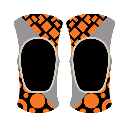 pad: Protector motorcycle sport protective gear and knee pad riding sport protection. Elbow knee pads protectors safety game competition. Pair of knee sport protectors activity equipment flat vector. Illustration