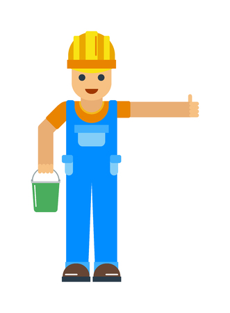 Cheerful repairman engineer with bucket in hand showing thumb up. Repairman maintenance service work and  repair technician man. Happy cartoon repairman or construction worker with safety hat vector.