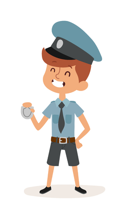 police icon: Cute cartoon profession police boy and police funny cartoon kid. Boy police man in police uniform, cap and badge hands cop occupation security job. Cute cartoon character of policeman boy vector.