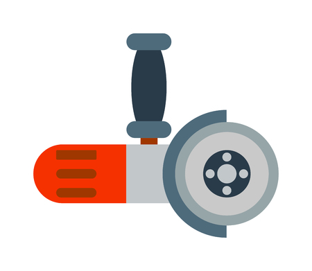 angle grinder: Flat grinder electrical machine and grinder industry equipment. Grinder power iron tool, worker production manufacturing circular. Big powerful angle grinder with abrasive disk industry machine vector Illustration