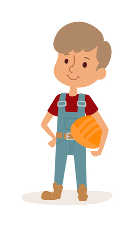 coverall: Cute cartoon profession builder kid and builder boy with helmet. Builder boy cheerful construction worker child. Young protective repair. Little cartoon builder boy in uniform with tools helmet vector