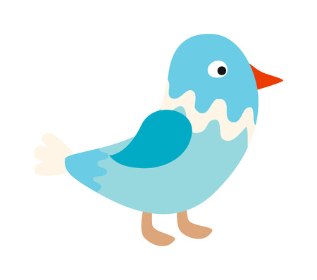 song bird: Blue bird nature animal and cute blue bird wing. Wild blue bird and cartoon bird blue funny character. Funny blue cute song bird. Vector little standing blue bird sparrow pointing with its wing