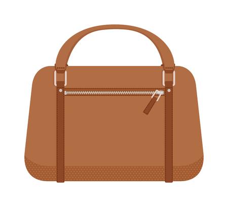 sac à main en cuir et le style de la mode sac à main. Glamour sac à main accessoire et d'élégance sac à main moderne. Les femmes de sac à main de style brun. sac à main de luxe. Terracotta femmes cuir sac à main mode vectoriel plat.