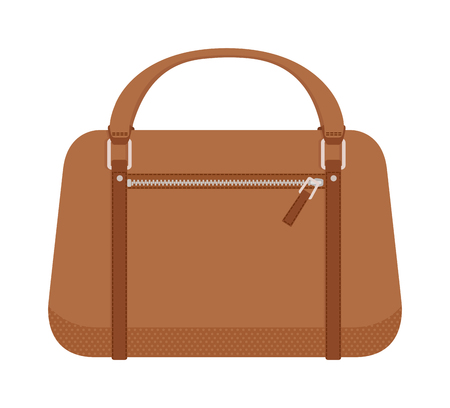 handbag: Leather handbag and handbag fashion style. Glamour accessory handbag and elegance modern handbag. Women brown style handbag. Luxury handbag. Terracotta women leather handbag fashion flat vector. Illustration