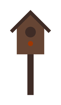 nesting box: Bird house nesting box and nesting wooden box. Nesting box bird house homemade building for birds. Birdhouse handmade object. Wooden birdhouse hanging on tree nesting box flat vector.