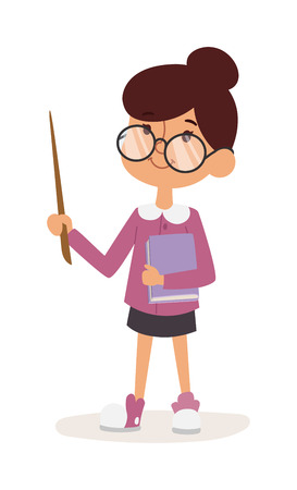 young girl: Young girl kindergarten teacher teaching vector. Cartoon young girl teacher and young girl teacher character. Young girl teacher  happy person with glasses pointer notebook.
