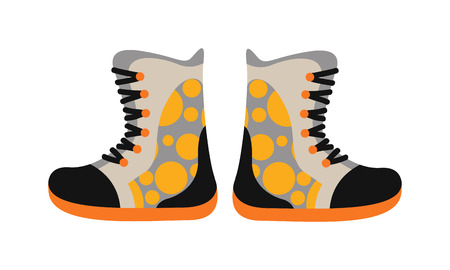 rainproof: Tourism sport boots and walking touristic leather sport boots. Tourism footwear  camping sport pair footwear concept. New pair sport leather boots. Camping sport walking boots in flat style vector.