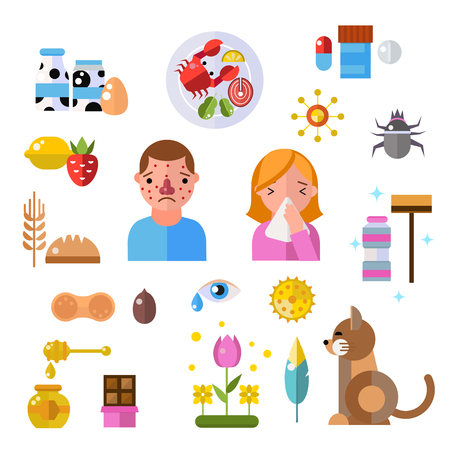 rhinitis: Allergy symbols disease and allergy symbols healthcare. Allergy symbols collections and flat label people with illness allergen symptoms. Allergy symbols disease information vector set.