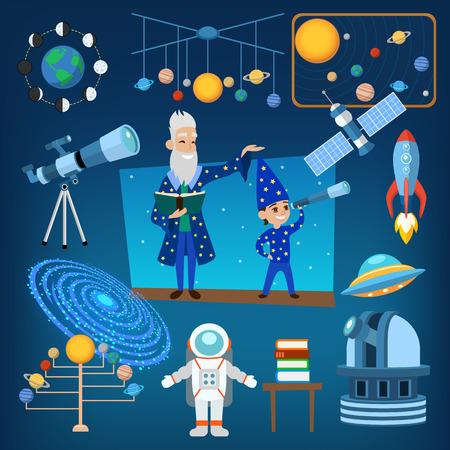 점성술 천문학 아이콘 행성 과학 및 점성술 천문학 아이콘 우주 달. 점성술 천문학 공간. 우리 태양계의 점성술 천문학 아이콘 벡터 일러스트 레이 션 일러스트