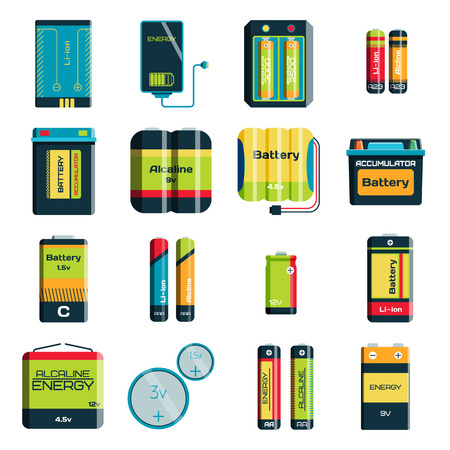 alkaline: Battery electricity charge technology and alkaline battery. Flat battery accumulator charger symbol generation voltage. Group of different size color batteries electricity charge technology vector.