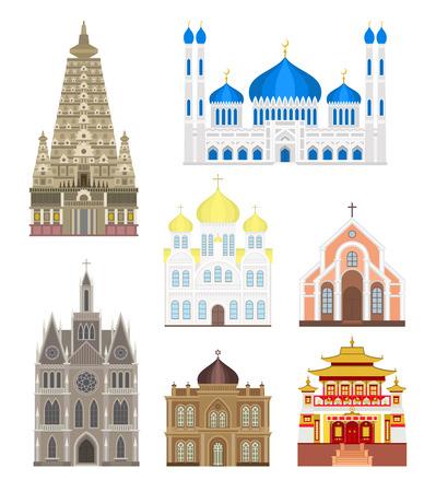 urban culture: Famous buildings travel architecture and landmark famous buildings. Tourism monument famous buildings urban culture europe. Set cities in middle famous buildings travel architecture landmark vector.