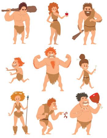 brandweer cartoon: Het silhouet van de groei vooruitgang holbewoner ontwikkeling, neanderthaler en aap, neanderthaler homo-sapiens hominide, holbewoner met wapen spear steen stok. Holbewoner cartoon actie neanderthaler evolutie vector. Stock Illustratie