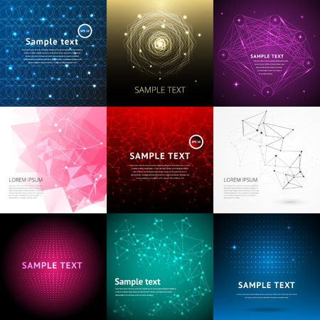 graphic backgrounds: Abstract background set and abstract nine backgrounds. Abstract pattern graphic background. Digital abstract line colorful background set. Modern art concept. Abstract background for design vector.