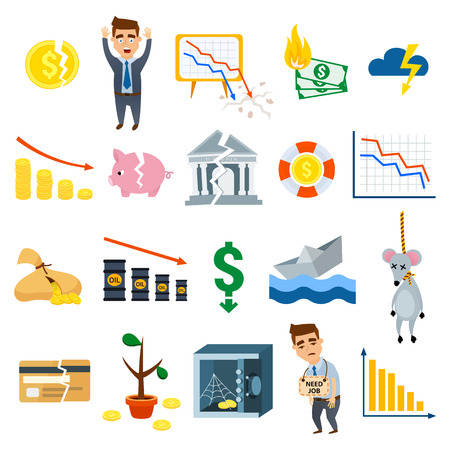 Crisis symbols concept and crisis symbols problem. Crisis symbols economy banking. Business finance crisis symbols design banking investment icon. Crisis symbols business sign finance flat vector. Çizim