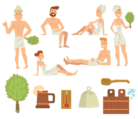 Bath people body washing face and bath people taking shower. People couples steam bath and take beer luxury relaxation. Young couple relaxing in spa health care concept bath people brushing vector.