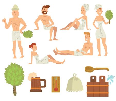 laver le visage Bath gens du corps et les gens de bain prendre une douche. Les gens couples de bain de vapeur et de prendre de la bière de détente de luxe. Jeune couple de détente soins de santé spa bain concept gens brossage vecteur.