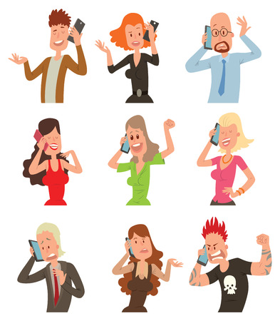 business people talking: Business professional people with phone and female, executive business people with phone. Success business people with smartphone. Successful professional business people talking his cell phone vector