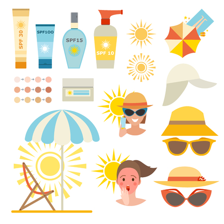 protection concept: Care cream skin protection and beauty skin protection lotion. Skin summer protection, health beach skin protection sunscreen sea vacation. Skin sun protection cancer body prevention infographic vector