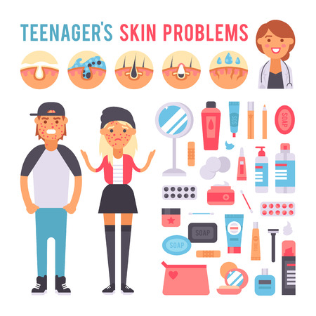 Facial care skin problems icons and clean skin problems. Skin human problems concept, cosmetic pimple dermatology instability. Facial care teenager defects skin problems infographic elements vector.