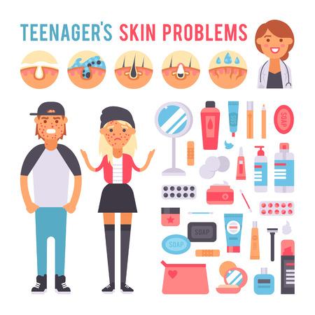 Gezichtsverzorging huidproblemen pictogrammen en schone huid problemen. Skin menselijke problemen concept, cosmetische dermatologie puistje instabiliteit. Gezichtsverzorging tiener defecten huidproblemen infographic elementen vector.