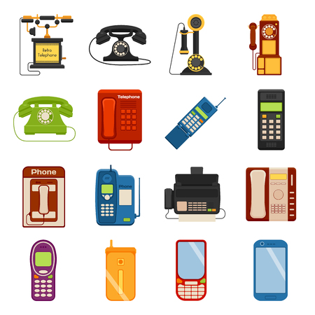 telephones: Telephones call contact and business telephones. Classic telephones technology support symbol, retro telephones mobile equipment. Telephones communication call contact device vector set. Illustration
