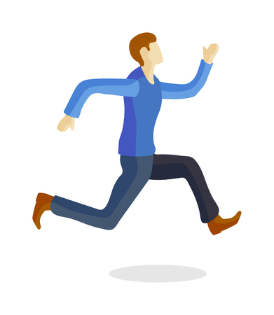 sprinter: Running man sport athlete and fitness running man. Running man healthy lifestyle, jogging running man outside road motion activity. One caucasian running man training young sprinter runner vector.