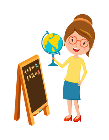 globe hand: School teacher teaching people and  happy occupation person school teacher. School teacher young  cheerful woman. Happy primary school teacher with globe hand and blackboard cartoon vector.