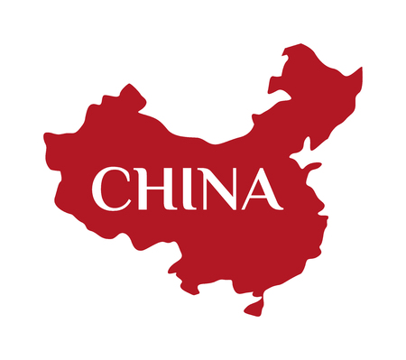 china map: Continent country geography china map and continent travel china map. Continent cartography asia symbol china map, continent graphic world border republic. High detailed red vector China map.