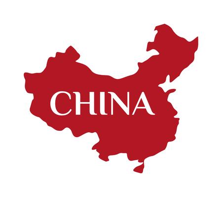 Continent aardrijkskunde china kaart en continent china kaart. Continent cartografie azië symbool china kaart, continent grafische wereld grens republiek. Hoog gedetailleerde vector rode kaart van China.