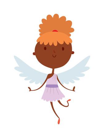 cute angel: Cartoon cute cupid angel smile girl kid vector silhouette. Romance cupid angel, child little cupid angel. Cupid angel wedding celebration. Baby cupid angel cartoon vector.