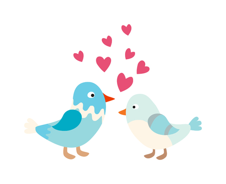 happy couple: Love bird couple character happy and colorful spring love bird. Couple love bird cartoon romantic animals. Romance natural bids concept. Couple of cute love birds nature sweet comic cartoon vector.