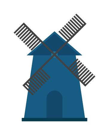 molino: Granja agr�cola molino de viento y viejo molino de viento. Molino de viento de holanda, molino de viento de la torre de grano pueblo ecolog�a h�lice. color de la construcci�n del molino de viento ejemplo granja pintado del vector del concepto antiguo y tradicional. Vectores
