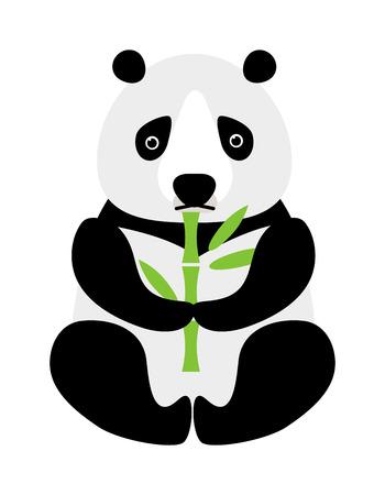 panda bear: Sitting little cute cartoon panda with green bamboo and cartoon panda wildlife china bear. Asian zoo baby cheerful panda. Cartoon panda sitting and eating bamboo animal bear funny vector.