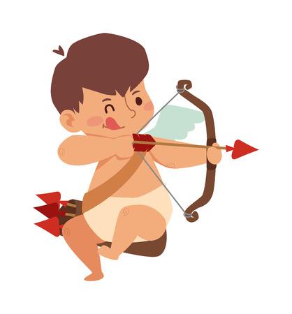 baby angel: Cartone animato Cupido angelo sorriso bambino vettore silhouette. Romanticismo cupido angelo, bambino piccolo Cupido angelo. Cupido festa di nozze angelo. Baby Cupid angelo ali box con cartone animato anello nuziale vettore.