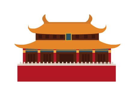 Chinese tempel azië cultuur architectuur en reizen oud gebouw Chinese tempel. Chinese beroemde oude structuur tempel, chinees religie. China reizen oriëntatiepunten Chinese tempel vector. Stock Illustratie