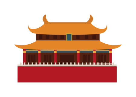 Chinese temple asia culture architecture and travel ancient building chinese temple. Chinese famous old structure temple, chinese religion. Beautiful china travel landmarks chinese temple vector. Иллюстрация