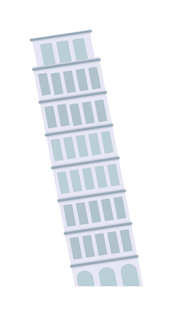 Leaning tower of Pisa landmark building and famous italian leaning tower of Pisa. Leaning tower of Pisa medieval culture tourist monument. Leaning Tower of Pisa architecture landmark building vector. Illustration