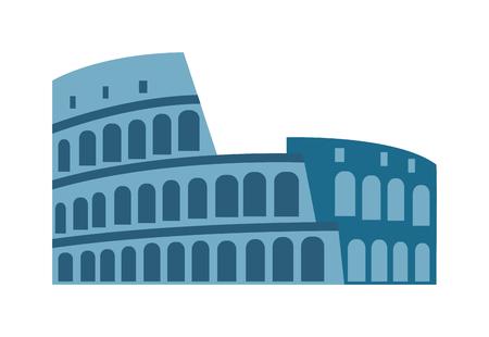 colosseo: Amphitheater ruin architecture history and old roman landmark amphitheater ruin. Amphitheater arena ruin famous coliseum. Amphitheater ruin an ancient architecture history city vector illustration.