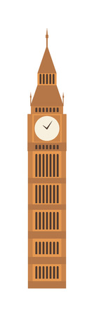 big ben tower: London big ben tower and big ben clock britain monument. Famous big ben building britain westminster parliament clock tower. Vector illustration big ben clock symbol of London and United Kingdom. Illustration
